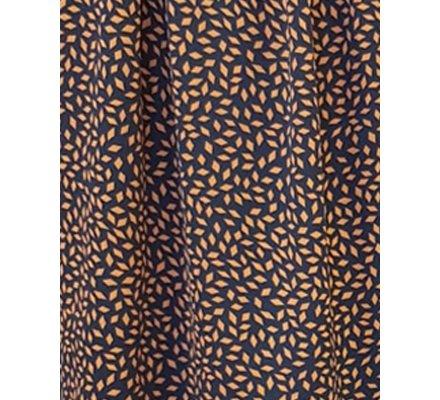 Robe chemise bleue marine motifs losanges ethniques camel