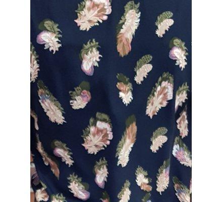Robe bleue marine à plumes kaki roses et beiges ceinture fine