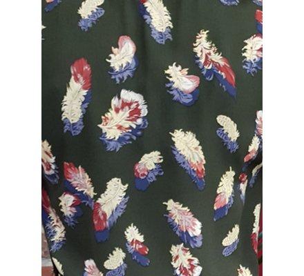 Robe kaki à plumes multicolores ceinture fine