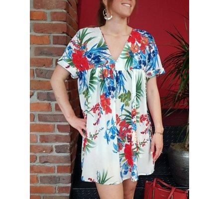 58007790cf Robe-short blanche fleurs exotiques bleues rouges et vertes - 10891