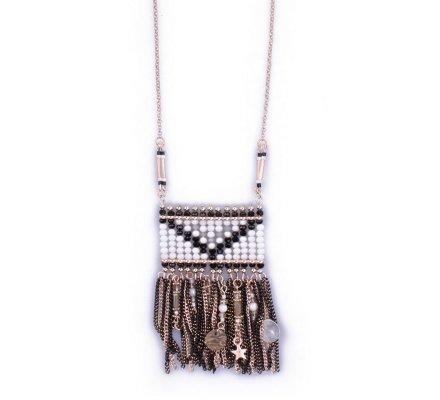 Sautoir Lolilota Enveloppis chaînettes et perles noir blanc