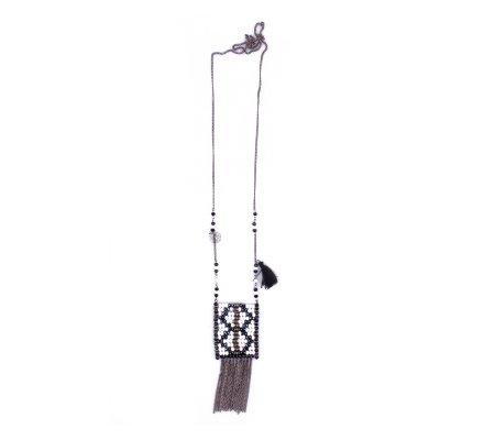Sautoir Lolilota Tentura perles noires blanches et chainettes