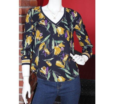 T-shirt manches longues bleu marine fleurs jaunes vertes mauves et bordures rayures pailletées