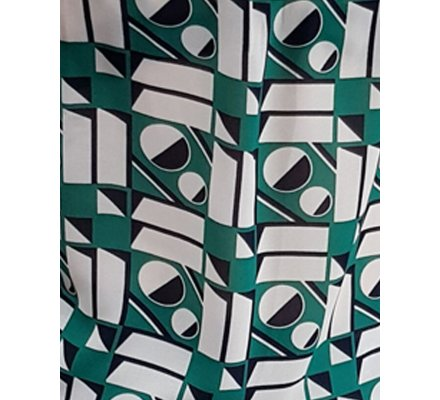Chemisier vert motifs géométriques bleu marine et blancs