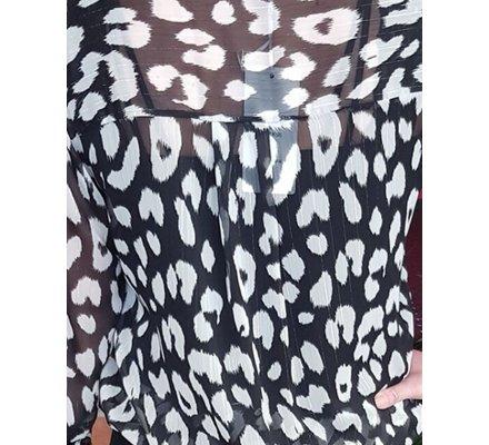 Chemisier voile noir et blanc léopard liseré argent