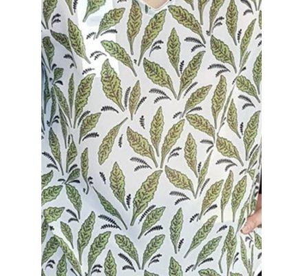 Blouse blanche feuilles vertes noires col doré