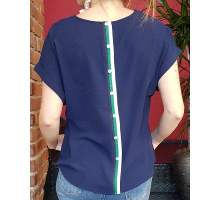 T-Shirt marine boutonnière dos rayures argent et vertes pailletées