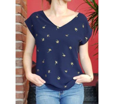 T-shirt bleu fleurs et liseré dorés