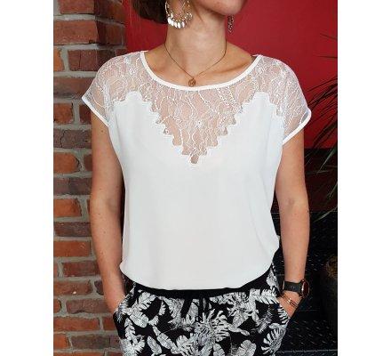 T-Shirt blanc décolleté dentelle ajouré Zigzag