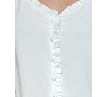Top blanc boutonné à bretelles et froufous