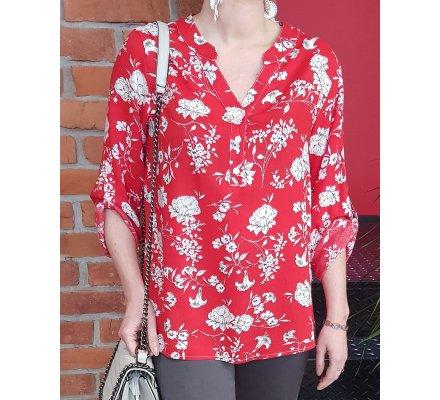 Tunique rouge motifs fleuris noirs et blancs