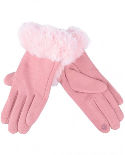 Gants roses pâles fourrure rose femme