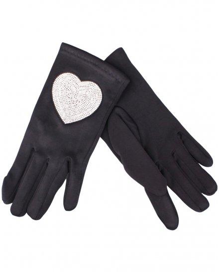 Gants noirs cœur strass argent