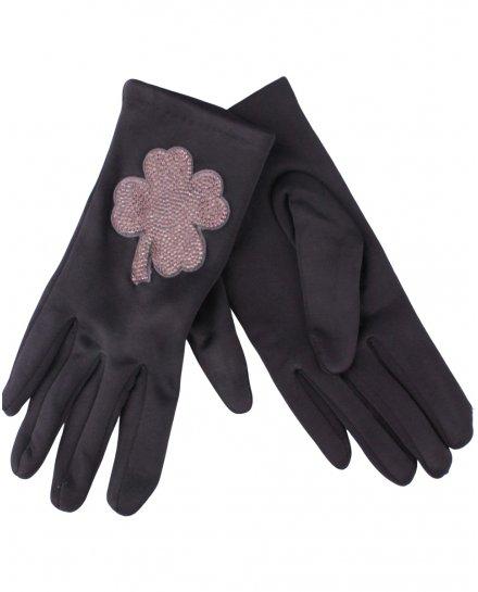 Gants noirs trèfle strass gris
