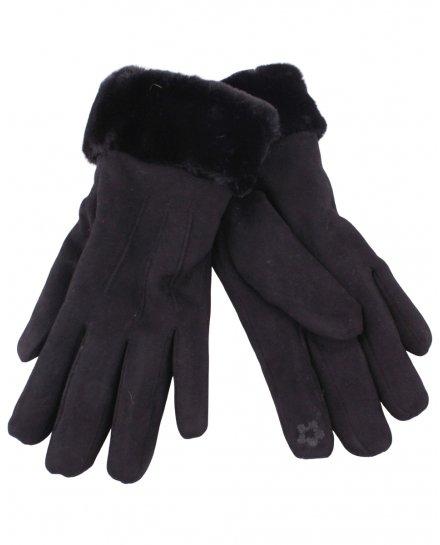 Gants noirs suédine poignet fourrure