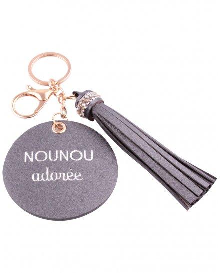 Porte-clés Nounou adorée rond et pompon