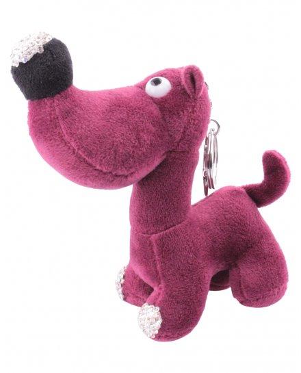 Porte-clés chien bordeaux truffe à strass