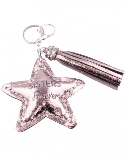 Porte-clés Sisters Forever étoile et pompon