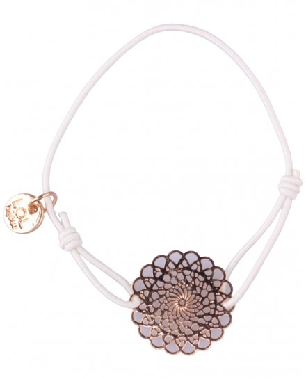 Bracelet LOL élastique blanc rosace fleurie filigrane doré