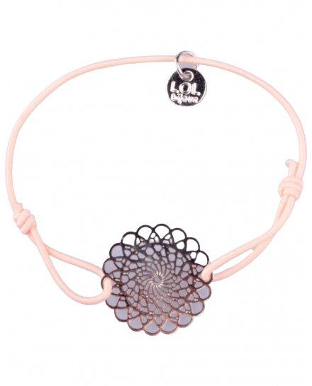 Bracelet LOL élastique rose pâle rosace fleurie filigrane argent