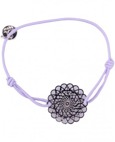 Bracelet LOL élastique parme rosace fleurie filigrane argent