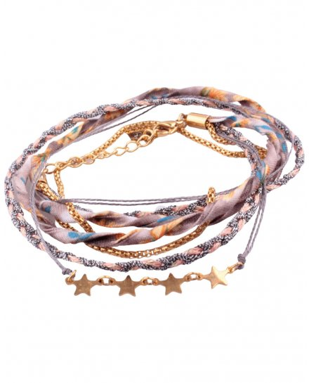 Bracelet multirangs MILE MILA tresse grise corail tissu multicolore étoiles acier doré