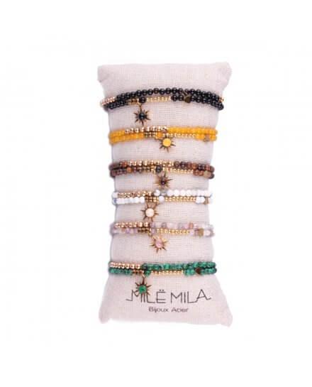 Bracelet MILE MILA perles marrons et acier doré Soleil