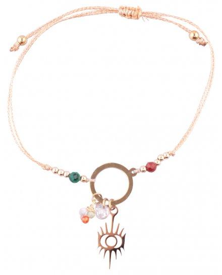Bracelet réglable acier doré LOL anneau soleil oeil perles