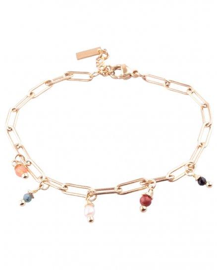 Bracelet acier doré chainette et petites perles multicolores