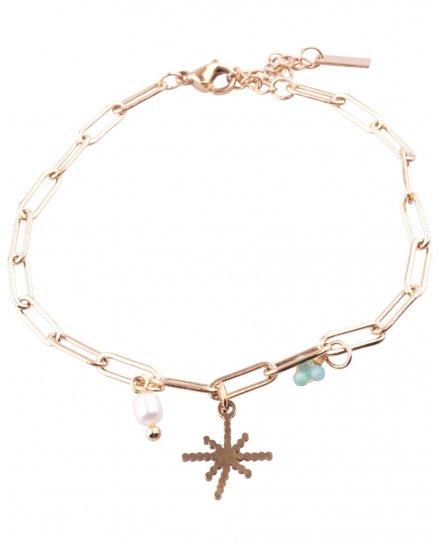 Bracelet acier doré à maillons étoile et perles