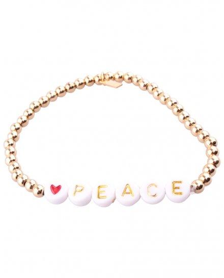 Bracelet acier perles dorées Peace