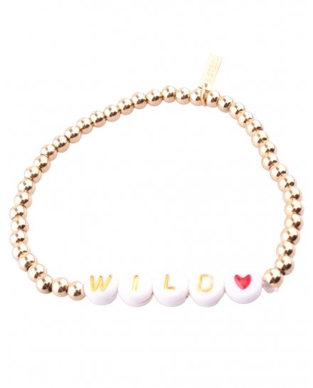 Bracelet acier perles dorées Wild