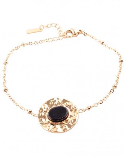 Bracelet acier rond doré avec pierre ovale