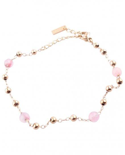 Bracelet acier doré perles or et roses