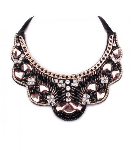 Collier Plastron noir strass perles noires et roses Majestic