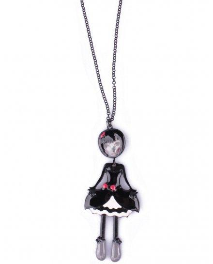 Sautoir Poupée LOL robe noire et blanche bouffante