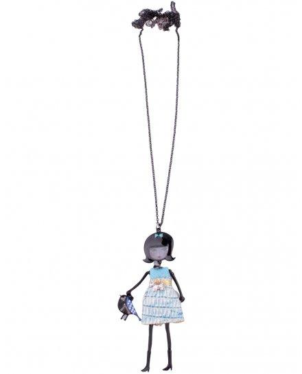 Sautoir Poupée LOL robe bleue ciel chien et sac oiseau