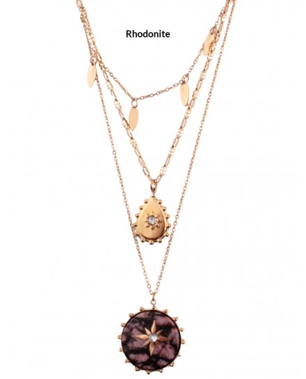 Sautoir trois rangs acier doré Tambouetoili pierre rhodonite