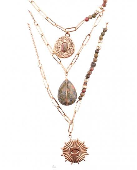 Collier multirangs acier  doré perles étoile pierre soleil