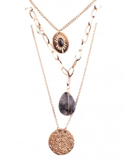 Collier multirangs acier doré médaillon pierre oeil