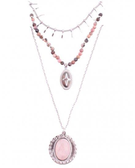Collier multirangs acier argent guirlande croix et médaillon perle