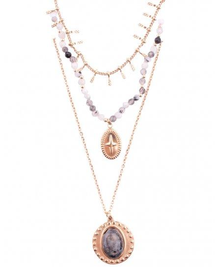 Collier multirangs acier doré guirlande croix et médaillon perle