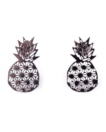 Boucles d'oreilles acier ananas graphiques
