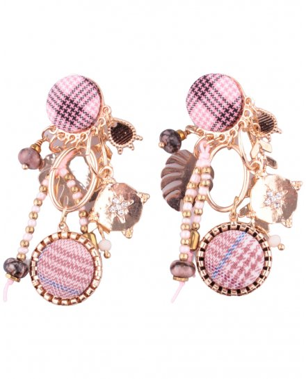 Boucles d'oreilles LOL à clips pied de poule rose et blanc breloques dorées