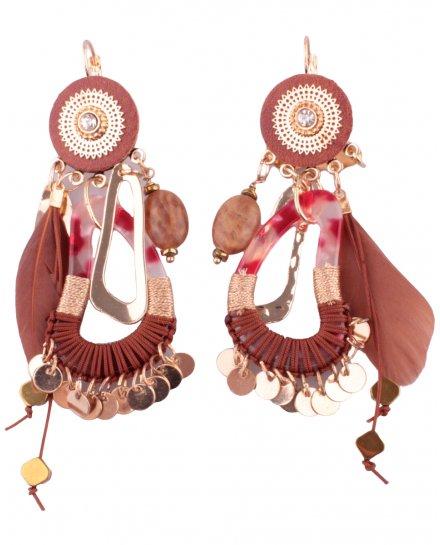 Boucles d'oreilles LOL marron camel et doré ovales marbrés pastilles et plume