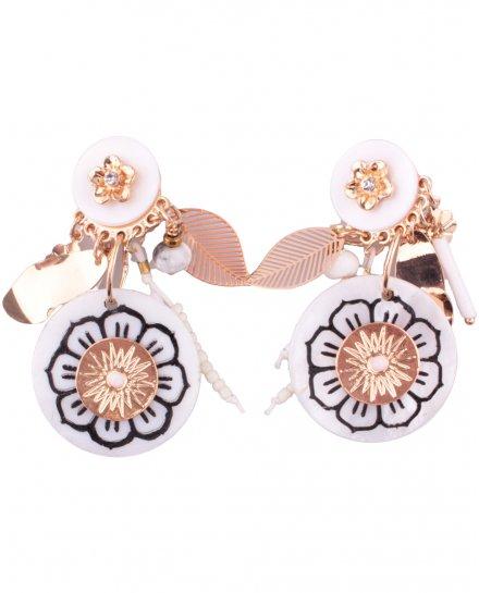 Boucles d'oreilles LOL à clips Floriloli blanc et doré