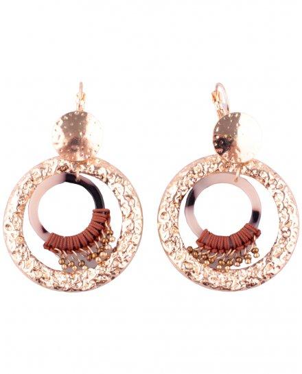 Boucles d'oreilles LOL Double anneau doré et marron marbré