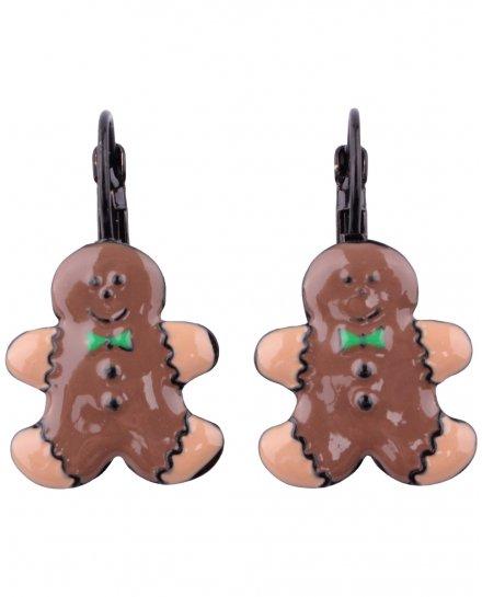 Boucles d'oreilles LOL le bonhomme en pain d'épice et son noeud