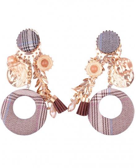 Boucles d'oreilles LOL à clips à tissu rayé Christia