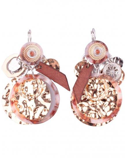 Boucles d'oreilles LOL gong doré anneau marbré rouille et blanc